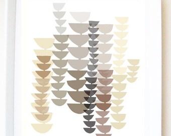 Art PRINT of original illustration 'Forest stems II', abstract print, abstract art, wall decor, wall art, beige print