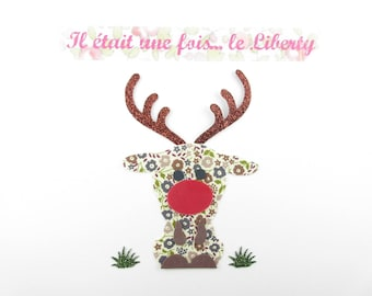 Applied fusible liberty fairford-Red Nosed Reindeer taupe glitter flex fusible liberty Christmas appliques iron-on