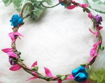 Flower Circlet, Flower Crown Flower Fairy Paper Rose Flower Hair Garland, Prop, Crown Wedding Bridal Flower Child Renaissance Faire Costume