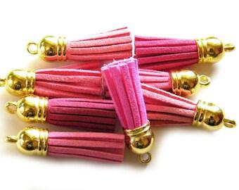 6 Pink Suede Tassels on Gold Cap