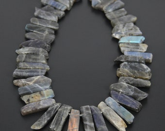 Natural Labradorite Stone Spikes Stick Beads Pendants, Top Drilled Raw Labradorite Slabs Necklace Wholesale 15''