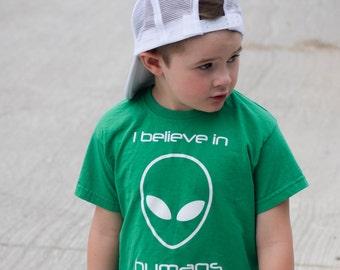 I believe in humans shirt, alien shirt, kids shirt, sci-fi shirt, i believe shirt, scifi tee, cute alien, funny kids shirt, space shirt