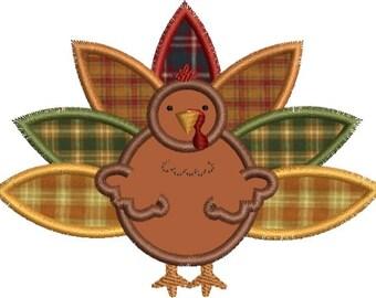 Cute Turkey Applique Machine Embroidery Designs 4x4 & 5x7 Instant Download Sale