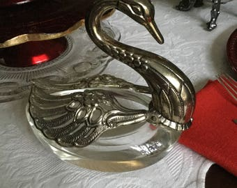 Large Heavy Glass and Silverplate Swan Master Salt Cellar/Sugar Bowl/Dish-Silver Wings