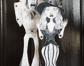 DIY 2 Printable PDF Zombie Elvis - Witch Paper Puppet Doll Halloween Ornement, Black, White