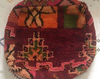 "Old Vintage Moroccan Pouf 24""x24""x8"""