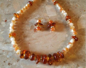 RUSSIAN AMBER AND Crystal Necklace With Matching Earrings