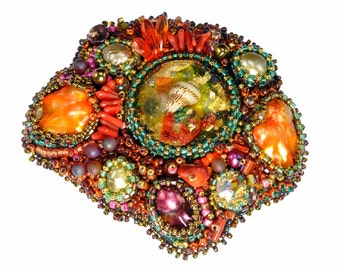 "One-of-a-Kind ""Sea Garden"" Free-Form Bead Embroidery Brooch Kits"