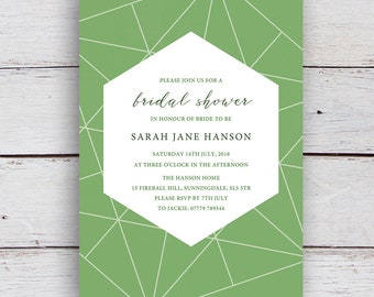 Facets Printable Bridal Shower Invitation with White Geometrics on a Matcha Green Background