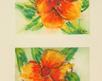 FREE SHIPPING Watercolor Original flowers
