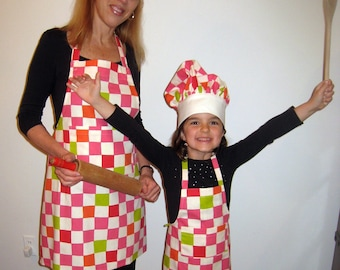 Mommy and Me matching Apron and Chef hat