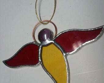 Yellow Angel stylized glass tiffany technique