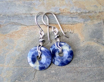 Sodalite Earrings, Natural Stone Earrings, Wire Wrapped Earrings, Doughnut Earrings, Hoop Earrings, Blue Earrings, Handmade Earrings