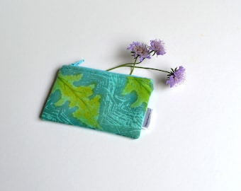 Teal Coin Purse, Hand Printed, Zipper Pouch, Leaf Coin Purse, Green Purse