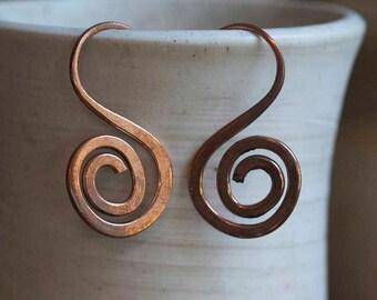 Copper Swan Earrings. Free U.S. Shipping. Handmade.