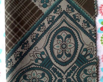 SET OF A CUT OF FABRIC IN PEACOCK BLUE - BROWN TONES