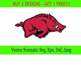 Arkanzas Razorbacks logos in SVG / Eps / Dxf / Jpg files INSTANT DOWNLOAD!