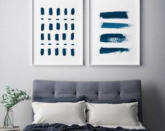 2x SET Bedroom Wall Art, Abstract Blue Prints, Home Decor, Modern Art Prints