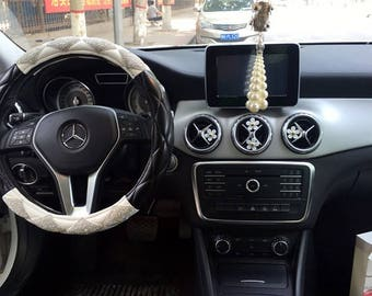 Sparkly Steering Wheel Cover Silver Crystal Rhinestone Women Car Accessories Big Girl Unique Gifts
