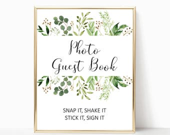 Greenery photo guest book sign printable, garden guest book wedding printables green leaf guestbook sign digital wedding sign W14