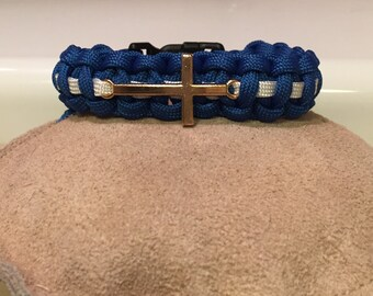 Paramedic/EMS Thin White Line Paracord Bracelet with Cross Charm