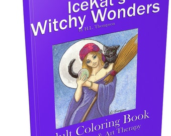 IceKat's Witchy Wonders Adult Coloring Book pagan wicca cats besom sabbat familiars gods goddesses magic