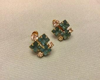 Vintage Aquamarine Rhinestone Earrings (Screw Back)