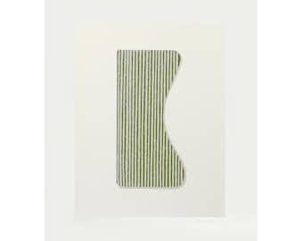 Silkscreen print, original abstract minimalist art by Emma Lawrenson on beautiful Italian Paper