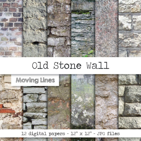 Contrast Between Stone And Plaster Finish: Stone Digital Papers Distressed Grunge Textures Stucco