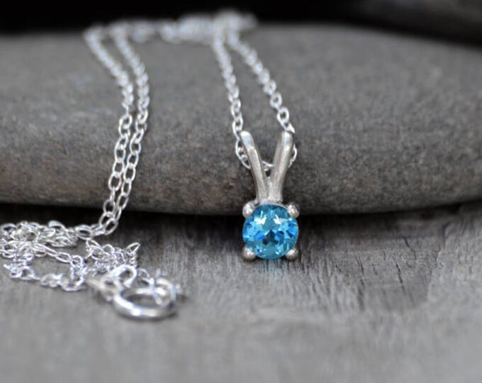 Blue Topaz Necklace Set In Sterling Silver, November Birthstone Necklace, Birthstone Necklace