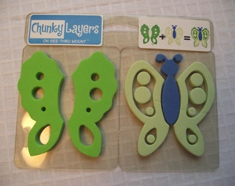 CHUNKY Layers Stamp Set,Large FOAM Stamps,Arts and Crafts,Kids Crafts,Pre-School Crafts,Scrapbook Supply,Butterfly and Leaf Stamps