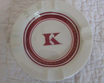 Vintage Ashtray Ceramic with the Letter K in the center
