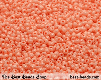 25g (1000pcs) Lustered Light Orange Rocaille 8/0 (2.9mm) Preciosa Czech Glass Seed Beads