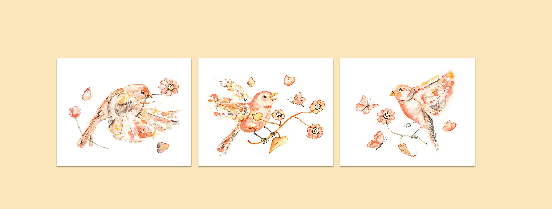 Bird Prints Set of 3 Flying Birds Prints Girl\'s Nursery