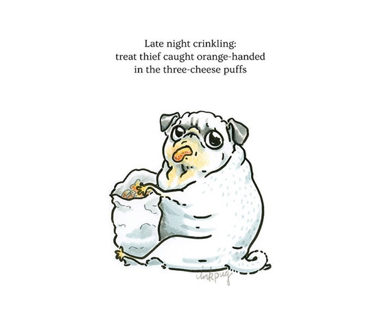Pug Poetry Treat Thief Pug Art Print OR Funny Card with
