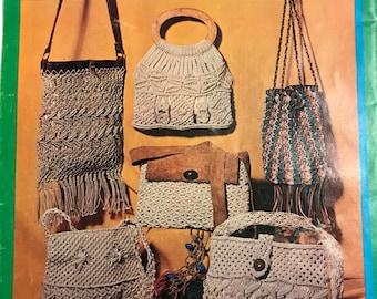Vintage Macrame Instruction Book Pattern Belt and Bag How-To 1970s