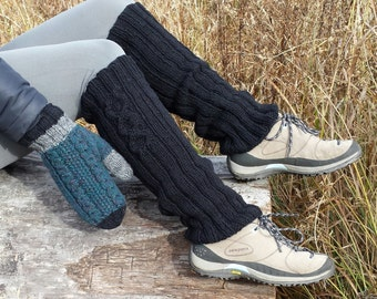 Wool leg warmers, women, wool from Canada black hand knitted, fall winter accessories