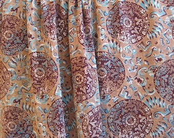 """vintage 1940's brown & turquoise Aztec print rayon fabric - 37"""" wide - 12 yards available"""
