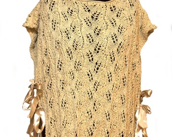 Handmade, knitted, oversize, elegant, woman, gold poncho sweater,sophisticated knitted gold women poncho