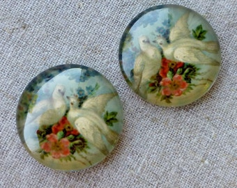 4pcs 25x7mm Cabochon with Doves