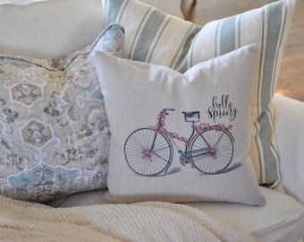 Hello Spring Bicycle Pillow Cover | Farmhouse Bicycle Pillow Cover | Spring Farmhouse Throw Pillow | Farmhouse Cottage Decor