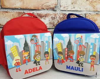 Personalised kid's lunch bag /perfect for school - Superhero design - girls and boys