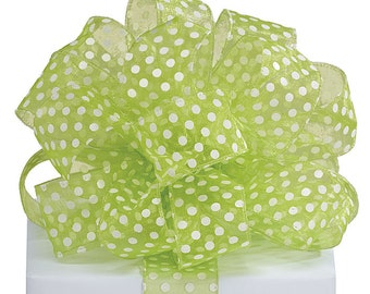 "Polkadots 1-1/2""W 5YDS Wired Edge Ribbon Sheer Green & White Polka Dot"