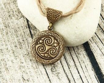 Celtic Triskelion - Triskele - Triquetra - Triple Spiral - Double Sided Pendant - Bronze, Earthtone, Silk