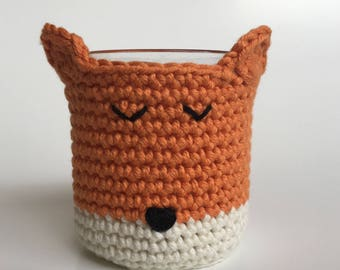 Kawaii Fox crochet planter