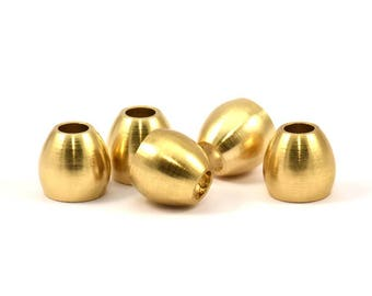 10 Raw Brass Industrial End Beads, (12x13x7 Mm) D070