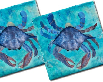 Blue Crab Ceramic Tile Coasters from my art