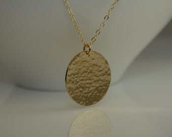 "Large Hammered Disc Necklace. Gold Circle necklace. Large Disc Necklace. Minimalist Necklace. Gold filled Disc Necklace. 1.25"" disc"