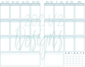 Weekly Planner Page, Instant Download, Half Letter