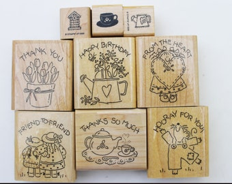 Nice & Easy Notes set of 6 plus additional 3 smaller stamps Wood mounted Friendship Greetings country